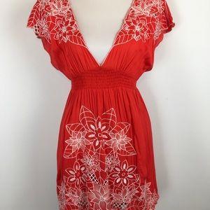 Flying Tomato Dress V Neck Embroidered Cap Sleeve